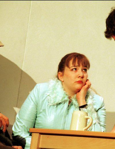 """Juliane in """"Die Apokalypse der Marita Kolomak"""", Nationaltheater Mannheim, Regie Brigitte Dethier, mit Manfred Trabant und Stephan Szasz, 2002 Nina Ruth Urban"""